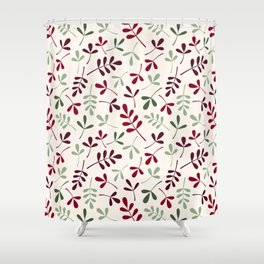 Assorted Leaf Silhouettes Ptn Reds Greens Cream Shower Curtain