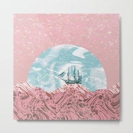 The old marble ship - coral & turquoise colors Metal Print