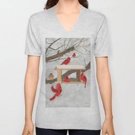 Cardinals at bird feeder Unisex V-Neck