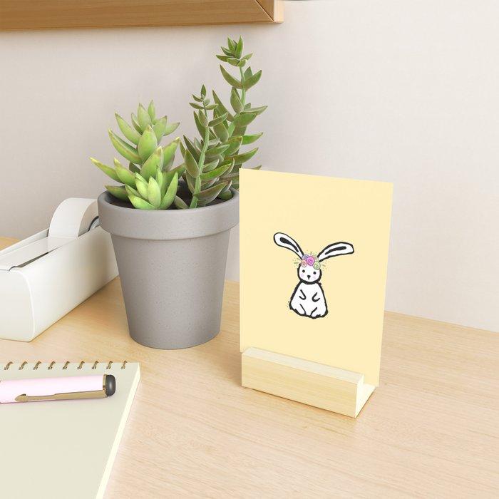 Bunny with Flower Crown - yellow Mini Art Print