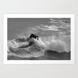 Winter surfing in Cantabria. Art Print