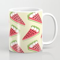 pie Mugs featuring Watermelon pie by Petits Pixels