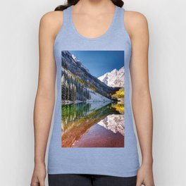 OLena Art Maroon Bells And Maroon Lake Near Aspen Colordo Unisex Tank Top