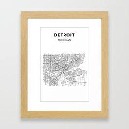 DETROIT MAP PRINT Framed Art Print