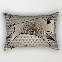 Buffalo Running (Gray) Rectangular Pillow