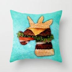 Unicorn Burger Throw Pillow