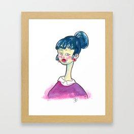 Blue Hair Framed Art Print