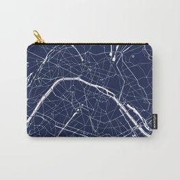 Paris France Minimal Street Map - Navy Blue and White Reverse Carry-All Pouch