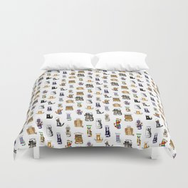 Science cats. History of great discoveries. Schrödinger cat, Tesla, Einstein. Physics, chemistry etc Duvet Cover