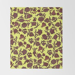 red flowers and leaves . art Throw Blanket