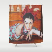 medicine Shower Curtains featuring Medicine Woman by Michael Diggs
