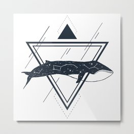 Cosmic Whale. Geometric Style Metal Print