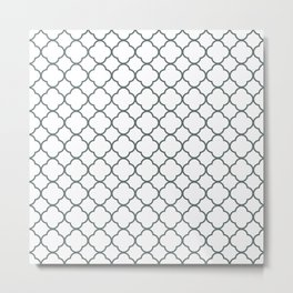 Grey, Steel: Quatrefoil Clover Pattern Metal Print