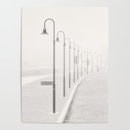 The street lamps in the dock of Senigallia, Italy Poster