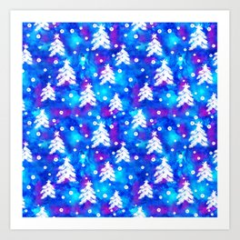 Watercolor Seamless pattern with hand drawn snowflakes and christmas tree . Art Print