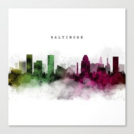 Baltimore Watercolor Skyline Canvas Print