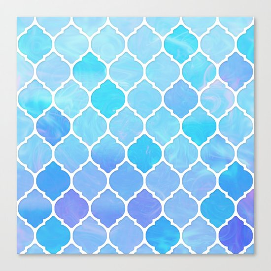 Blue and purple glass Moroccan print Canvas Print