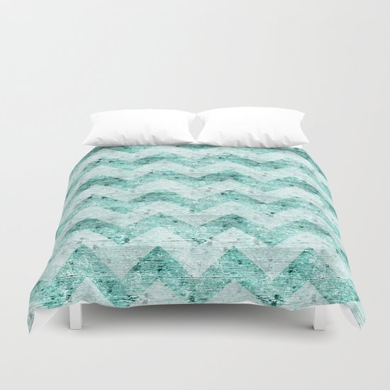 Teal Wood Chevron  Duvet Cover