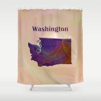 washington Shower Curtains featuring Washington Map by Roger Wedegis