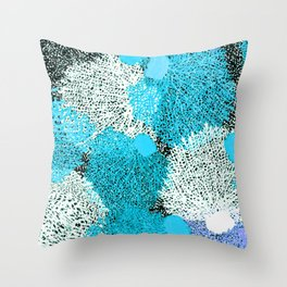 Coral Sea Pattern  |  Bright Blue + Violet Throw Pillow