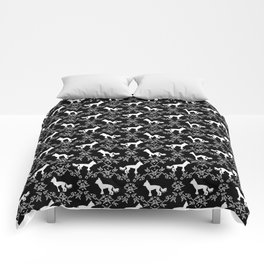 Chinese Crested silhouettes florals pet gifts unique dog breeds art black and white Comforters