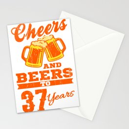 Cheers And Beers To 37th Birthday Gift Idea Stationery Cards