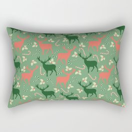 Hand painted Christmas green coral deer candy pattern Rectangular Pillow