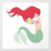 ariel Art Prints featuring Ariel by punziella