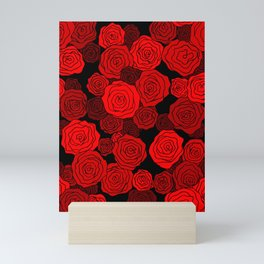 Red Rose Pattern Mini Art Print