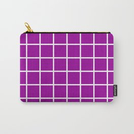 GRID DESIGN (WHITE-PURPLE) Carry-All Pouch