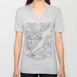 Quebec City Map White Unisex V-Neck
