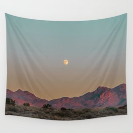 Sunset Moon Ridge // Grainy Red Mountain Range Desert Landscape Photography Yellow Fullmoon Blue Sky Wall Tapestry