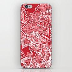 Modern red flame scarlet white hand drawn floral mandala pattern iPhone & iPod Skin