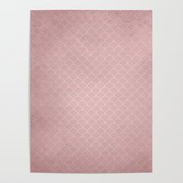 Grunge textured rose quartz small scallop pattern Poster