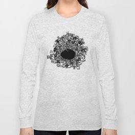 Monsters falling in hole, doodle art Long Sleeve T-shirt