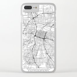 Sacramento Map White Clear iPhone Case