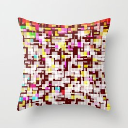 Multicolor comic book maze with RGB square pixels Throw Pillow