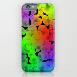 Neon intersecting green hearts on a sparkling background. iPhone Case
