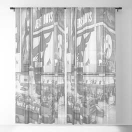 Times Square II (black & white pen and ink sketch) Sheer Curtain