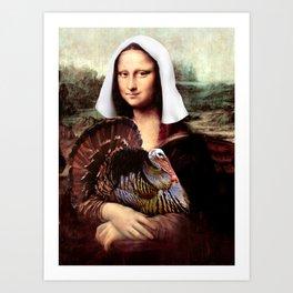 Mona Lisa Thanksgiving Pilgrim Art Print