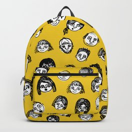 So Many People (Yellow) Pattern Print Backpack