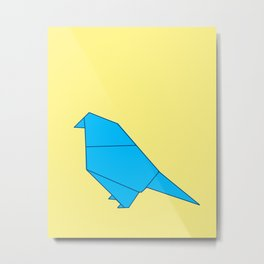 Blue Origami Parot Metal Print