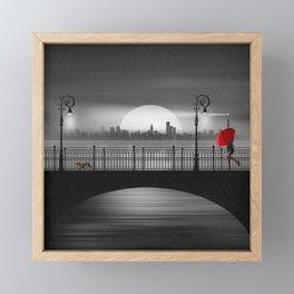 The bridge in the summer rain Framed Mini Art Print