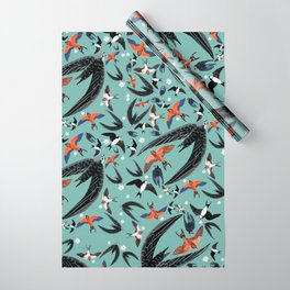Swallows Martins and Swift pattern Turquoise Wrapping Paper