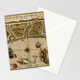 Map Of Portugal 1600 Stationery Cards