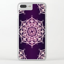 Violet Glowing Spirit Mandala Clear iPhone Case