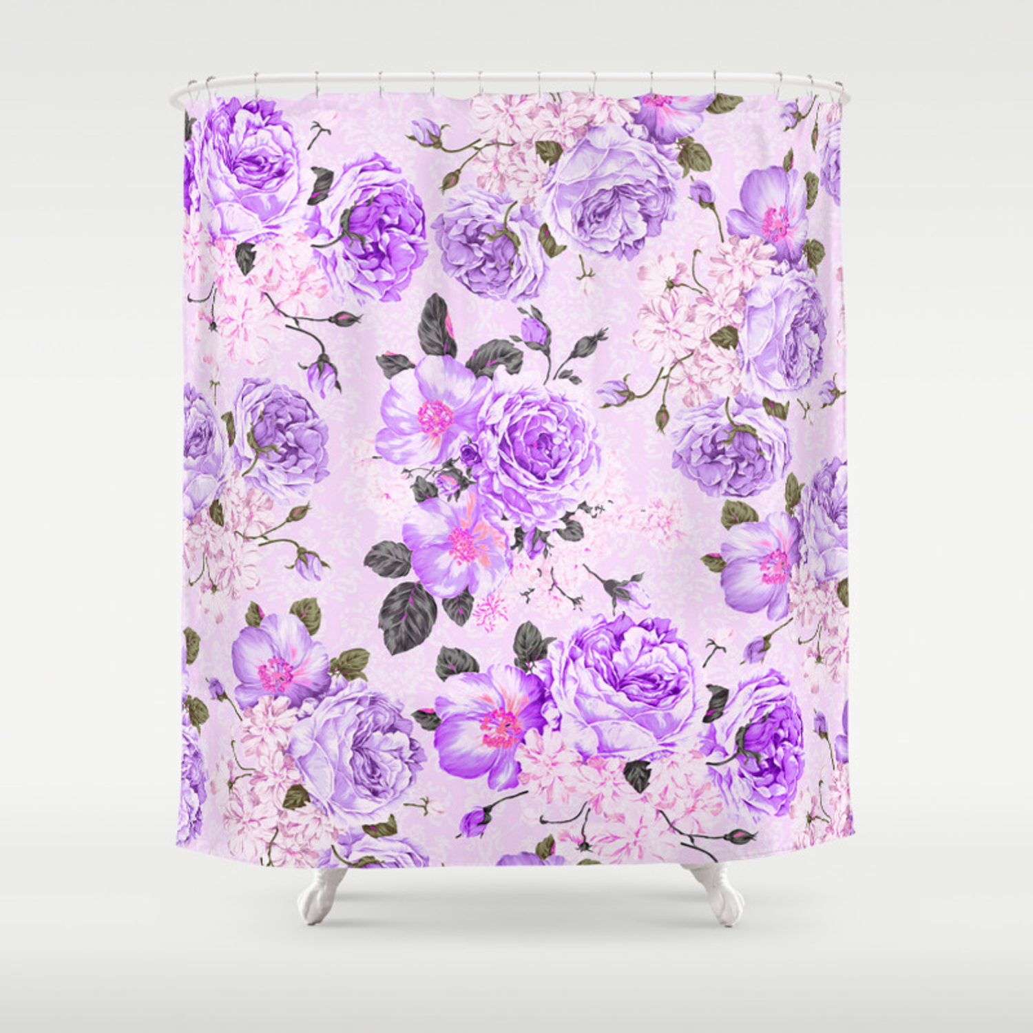 Vintage Purple Pink Rose White Floral Elegant Damask Shower Curtain By Pink Water Society6