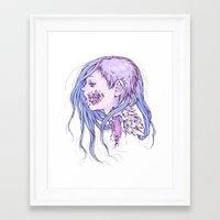 gore Framed Art Prints featuring Pastel Gore Girl by Savannah Horrocks