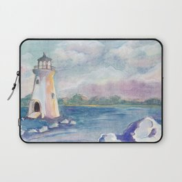 lighthouse on the seashore by watercolor Laptop Sleeve