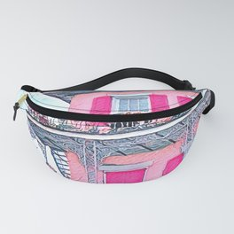 Watercolor Pink New Orleans French Quarter Nola Home Fanny Pack